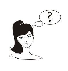 thinking girl with question mark in bubble speech vector image vector image