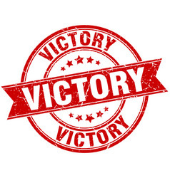 victory round grunge ribbon stamp vector image vector image
