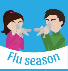 young sick man and woman ill vector image vector image