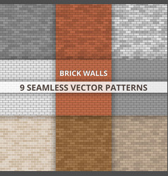 9 seamless patterns brick wall paterns vector image