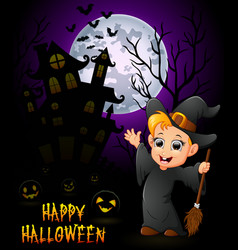 a little boy in a witch costume with pumpkin and h vector image