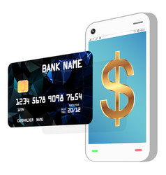 a side view smartphone with credit card vector image