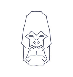 Abstract gorilla head lineart on white background vector