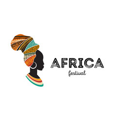 African woman silhouette with an map vector