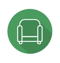 armchair flat linear long shadow icon vector image