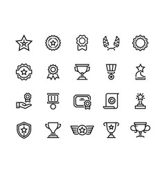 award line icons winner reward trophy medal and vector image