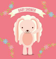 baby shower invitation card pink rabbit floral vector image