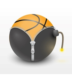 basketball ball inside a burning bomb vector image