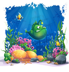 beautiful cartoon funny green fish vector image