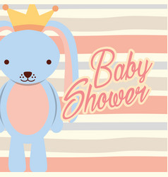 blue rabbit boy baby shower vector image