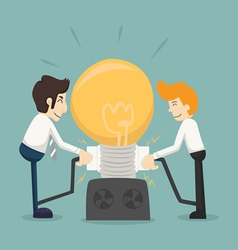 Businessman team work make idea vector image
