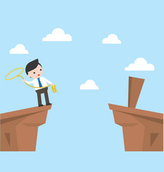 Businessman using lasso rope for cross the cliff vector
