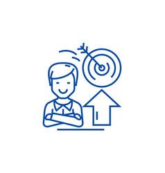 businessmansuccessgoal target line icon concept vector image