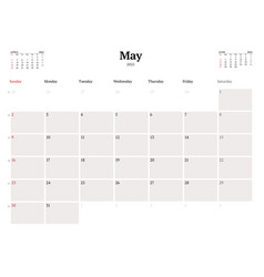 Calendar template for may 2021 business monthly vector