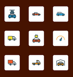 Car icons colored line set with crossover tesla vector