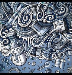 cartoon cute doodles hand drawn winter frame vector image