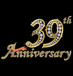 Celebrating 39th anniversary golden sign vector