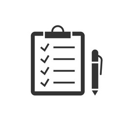 check marks on clipboard black icon on white vector image