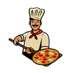 chef with pizza pizzeria food restaurant vector image
