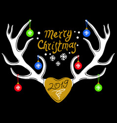christmas design with reindeer antlers isolated on vector image