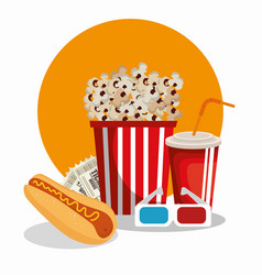 Cinema food with glasses 3d vector
