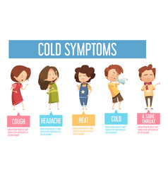 Cold symptoms kids flat infographic poster vector