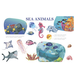 colorful sea life concept vector image