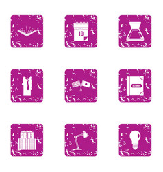 Coop icons set grunge style vector