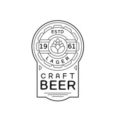 craft beer vintage label design lager emblem estd vector image