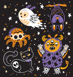 creative set with cartoon monster vector image