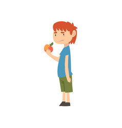 Cute boy does not want to eat apple child does vector