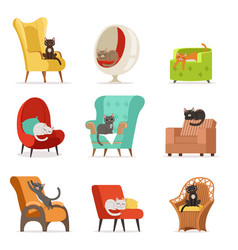 Cute different cats characters lying and resting vector