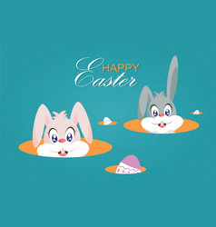 cute easter bunnies or easter rabbits and easter vector image