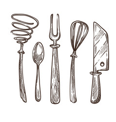 cutlery and utensils used while cooking lunch or vector image