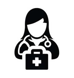 Doctor icon female person profile avatar with vector