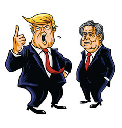 Donald trump and steve bannon cartoon vector