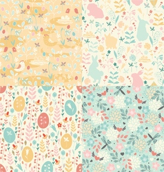 Easter set of patterns vector image