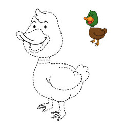 educational game for kids and coloring book-duck vector image
