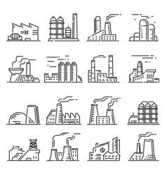 factory building outline set vector image