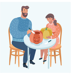 father and child carve a pumpkin for halloween vector image