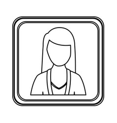 Figure silver emblem technical support woman vector