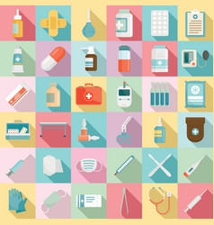 first medical aid icons set flat style vector image