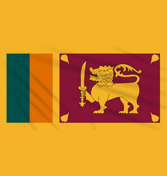 Flag sri lanka swaying in wind realistic vector