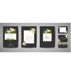 floral wedding save date invitation cards vector image