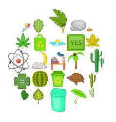 fresh icons set cartoon style vector image