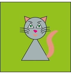 Funny cat on the green background vector image