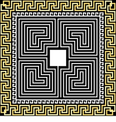 Gold Greek ornament Meander and labyrinth vector