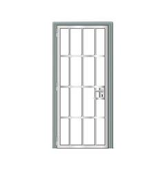 Gray door prison interior metal jail cell vector