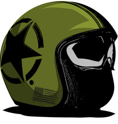 green motorcycle helmet with strips on a vector image