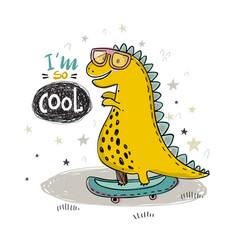 hand drawing cool dinosaur vector image